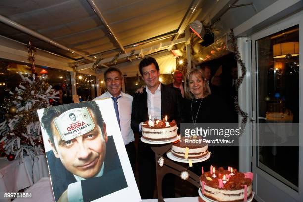 Laurent Gerra and his parents Nanou Gerra and Nicole Gerra celebrate Laurent Gerra 50th Anniversary at restaurant Chez Francoise on December 29 2017...