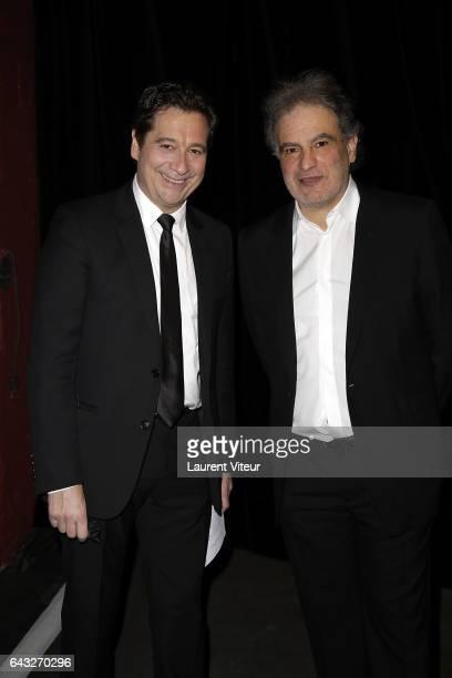 Laurent Gerra and Raphael Mezrahi attend 'La Nuit De La Deprime 2017' at Folies Bergeres on February 20 2017 in Paris France