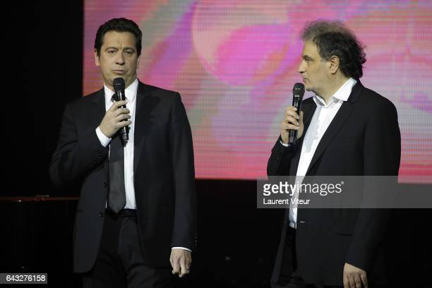 Laurent Gerra and Raphael Mezrahi attend 'La Nuit De La Deprime 2017' at Folies Bergeres on February 20 2017 in Paris France