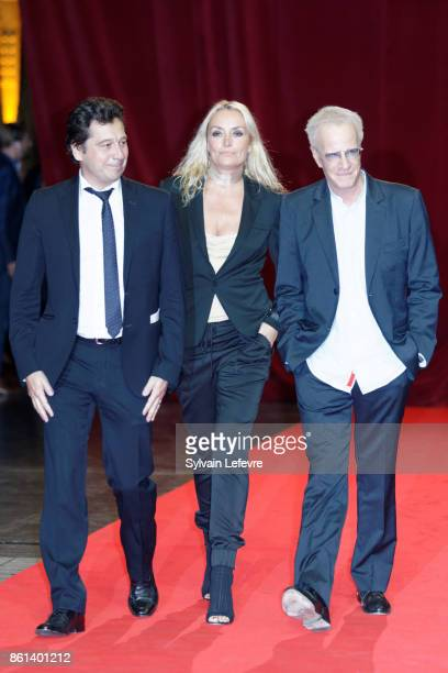 Laurent Gerra, Christelle Bardet and Christophe Lambert attend opening ceremony of 9th Film Festival Lumiere In Lyon on October 14, 2017 in Lyon,...