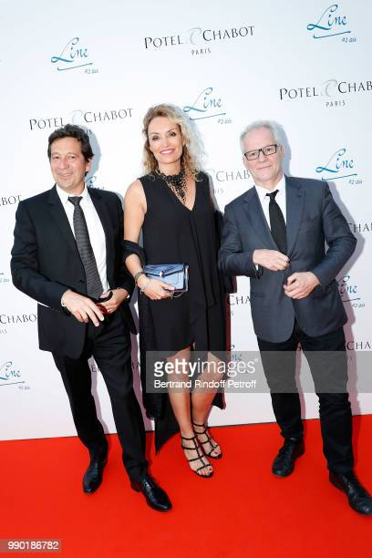 Laurent Gerra, Christelle Bardet and Thierry Fremaux attend Line Renaud's 90th Anniversary on July 2, 2018 in Paris, France.