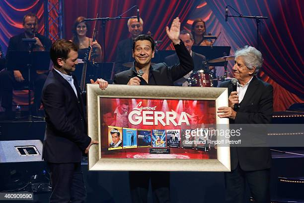 Laurent Gerra honored for sail 2 millions DVD during 25 years career by Philippe Gildas and Universal Marketing Director Eric Legay during the...