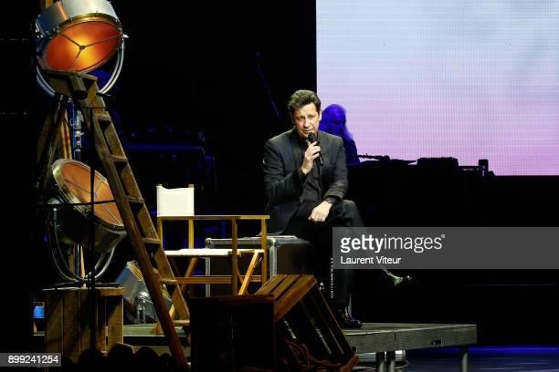 Laurent Gerra imitates Laurent Delahousse during 'Laurent Gerra Sans Moderation' Show at L'Olympia on December 26 2017 in Paris France