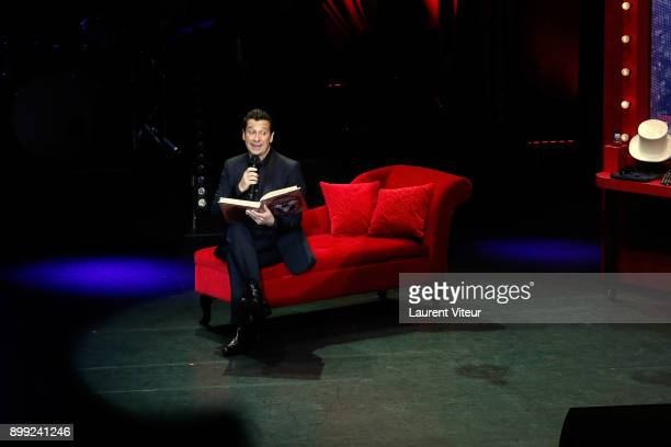 Laurent Gerra imitates Singer Celine Dion during 'Laurent Gerra Sans Moderation' Show at L'Olympia on December 26 2017 in Paris France