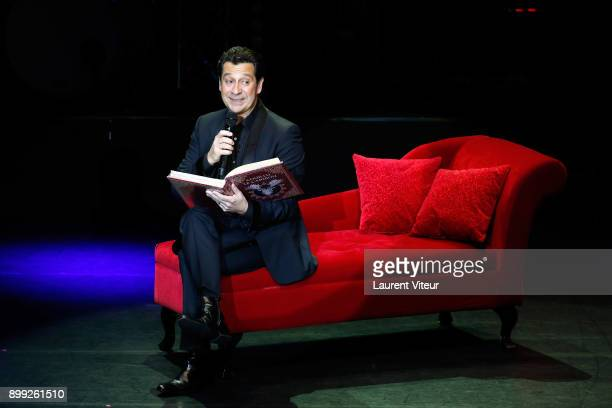Laurent Gerra imitates Singer Celine Dion during 'Laurent Gerra Sans Moderation' at L'Olympia on December 27 2017 in Paris France