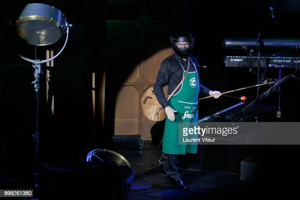 Laurent Gerra imitates TV Presenter Laurent Delahousse during 'Laurent Gerra Sans Moderation' at L'Olympia on December 27 2017 in Paris France