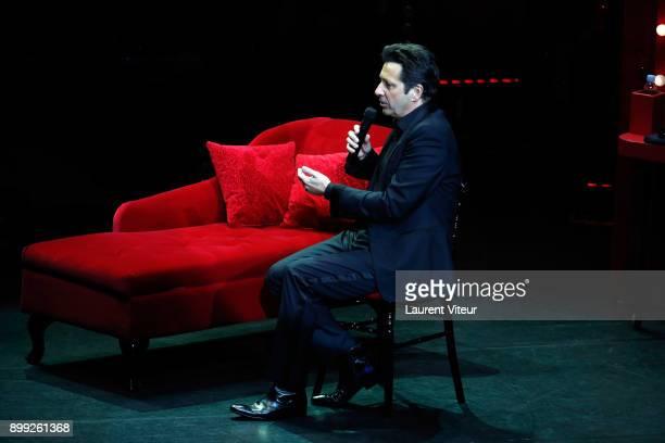 Laurent Gerra imitates TV Presenter MarcOlivier Fogiel during 'Laurent Gerra Sans Moderation' at L'Olympia on December 27 2017 in Paris France