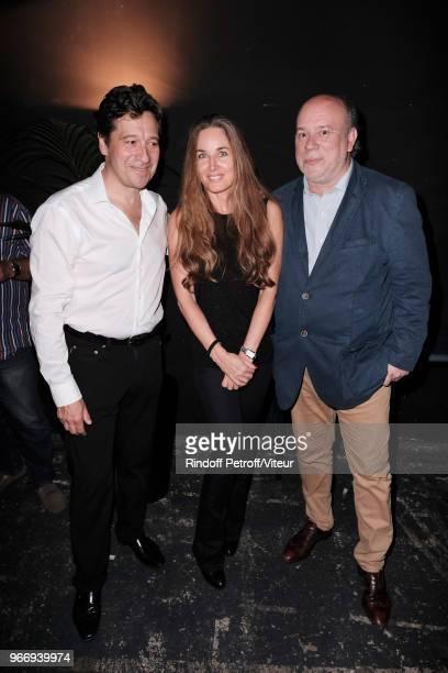 Laurent Gerra Writer Delphine Marang Alexandre and Academician Marc Lambron attend Sans Moderation Laurent Gerra's Show at Palais des Sports on June...