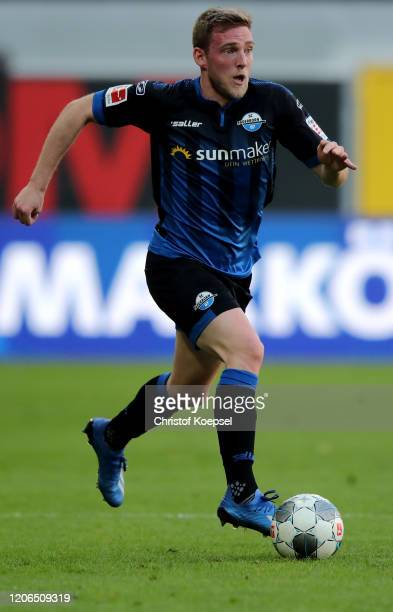 Laurent Jans of Paderborn runs with the ball during the Bundesliga match between SC Paderborn 07 and Hertha BSC at Benteler Arena on February 15 2020...