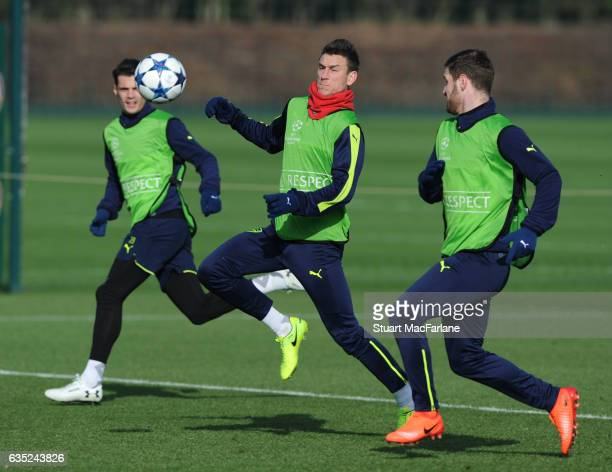 Laurent Koscielny and Shkodran Mustafi of Arsenal during a training session at London Colney on February 13, 2017 in St Albans, England.
