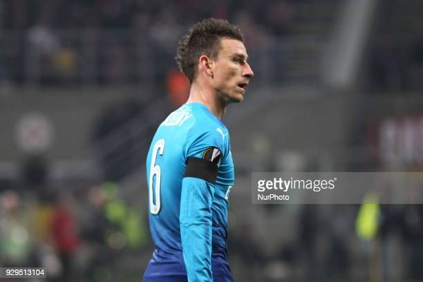 Laurent Koscielny during the first leg of the round 16 of the UEFA Europa League 2017/18 between AC Milan and Arsenal FC at Giuseppe Meazza stadium...