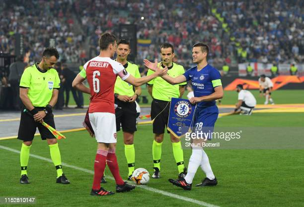 Laurent Koscielny of Arsenal and Cesar Azpilicueta of Chelsea shake hands prior to the UEFA Europa League Final between Chelsea and Arsenal at Baku...