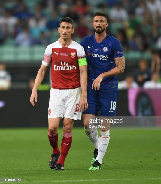 Laurent Koscielny of Arsenal and Olivier Giroud of Chelsea during the UEFA Europa League Final between Chelsea and Arsenal at Baku Olimpiya Stadionu...