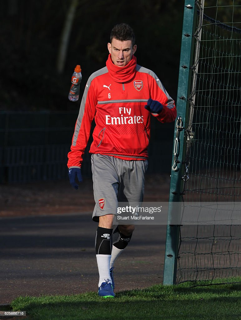 Laurent Koscielny of Arsenal before a training session in preparation for the Premier League match against AFC Bournemouth at London Colney on November 26, 2016 in St Albans, England.