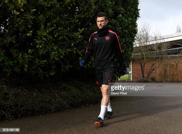 Laurent Koscielny of Arsenal before the Arsenal Training Session at London Colney on March 7 2018 in St Albans England
