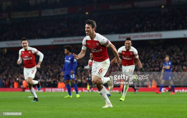 Laurent Koscielny of Arsenal celebrates after he scores his sides second goal during the Premier League match between Arsenal FC and Chelsea FC at...