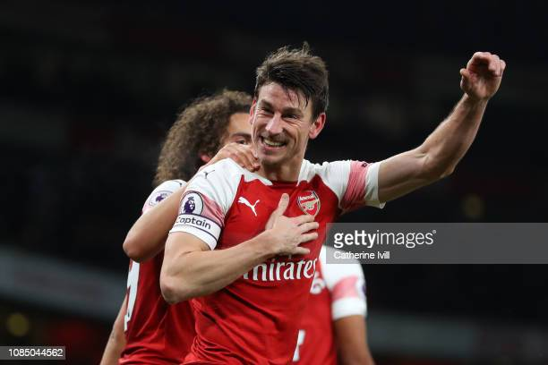 Laurent Koscielny of Arsenal celebrates with Matteo Guendouzi of Arsenal after scoring his sides second goal during the Premier League match between...