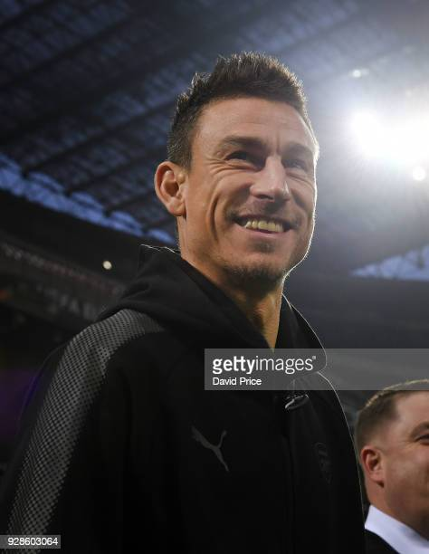 Laurent Koscielny of Arsenal checks out the pitch before the Press Conference at San Siro Stadium on March 7 2018 in Milan Italy