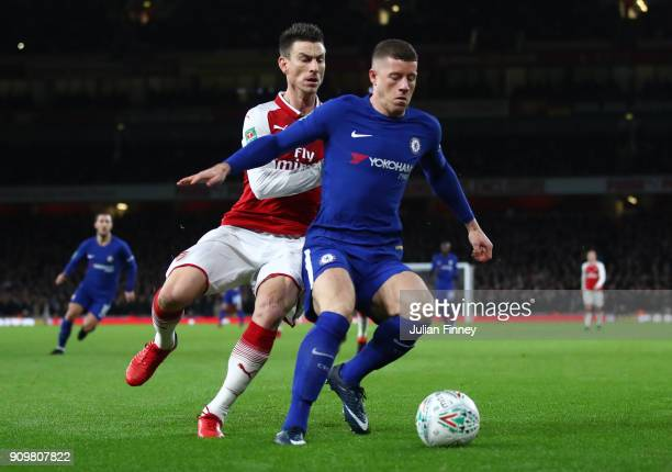 Laurent Koscielny of Arsenal closes down Ross Barkley of Chelsea during the Carabao Cup SemiFinal Second Leg at Emirates Stadium on January 24 2018...
