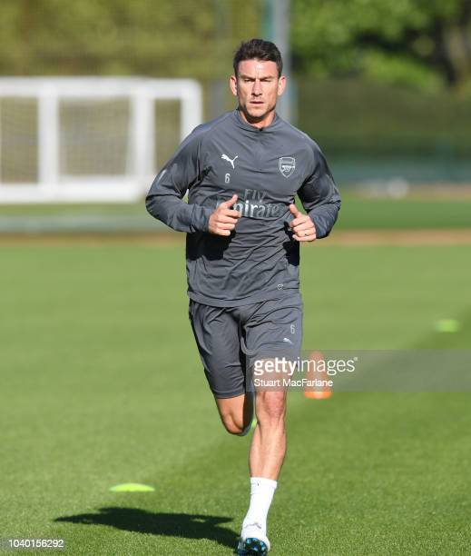 Laurent Koscielny of Arsenal during a training session at London Colney on September 25 2018 in St Albans England