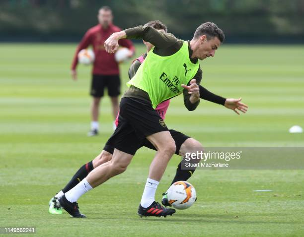 Laurent Koscielny of Arsenal during a training session at London Colney on May 16, 2019 in St Albans, England.