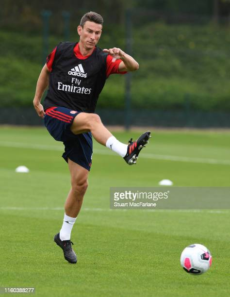 Laurent Koscielny of Arsenal during a training session at London Colney on July 06, 2019 in St Albans, England.