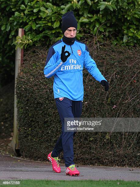 Laurent Koscielny of Arsenal during a training session at London Colney on February 15 2014 in St Albans England