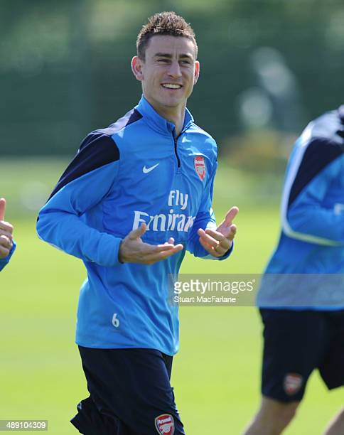 Laurent Koscielny of Arsenal during a training session at London Colney on May 10, 2014 in St Albans, England.