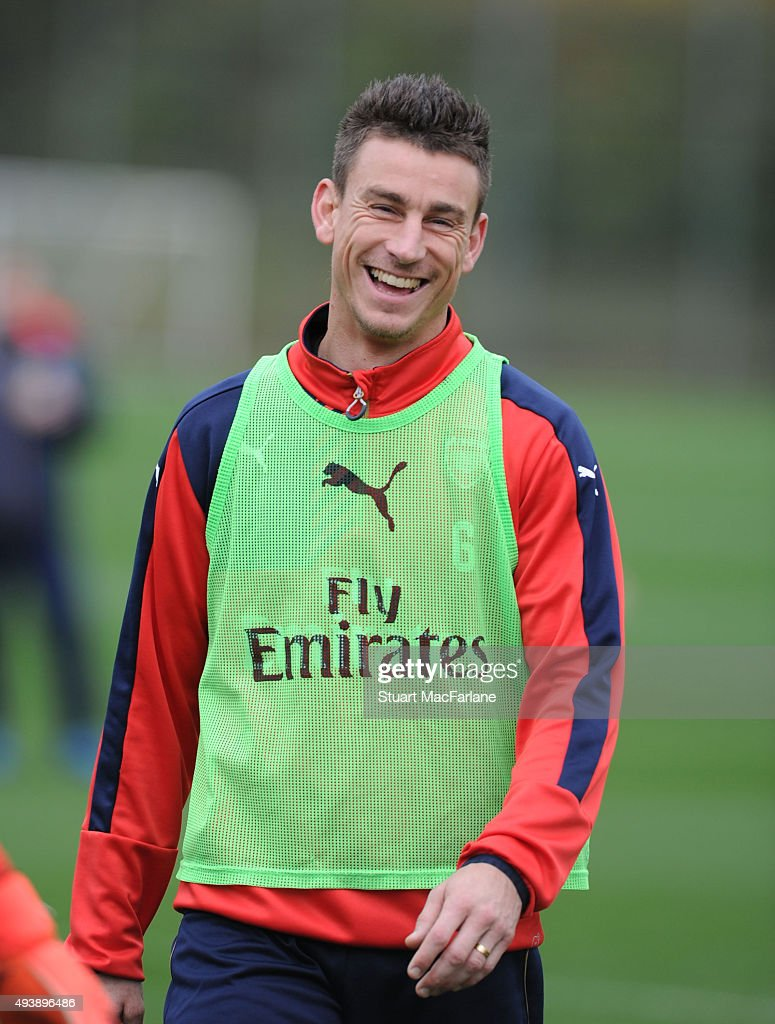 Laurent Koscielny of Arsenal during a training session at London Colney on October 23, 2015 in St Albans, England.