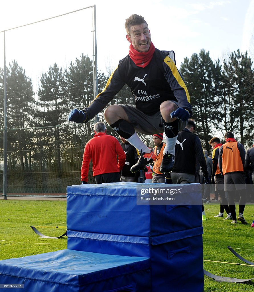 Laurent Koscielny of Arsenal during a training session at London Colney on January 18, 2017 in St Albans, England.