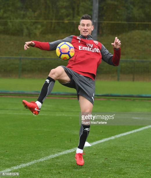 Laurent Koscielny of Arsenal during a training session at London Colney on November 4 2017 in St Albans England
