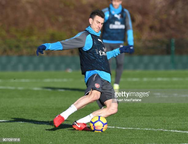 Laurent Koscielny of Arsenal during a training session at London Colney on January 19 2018 in St Albans England