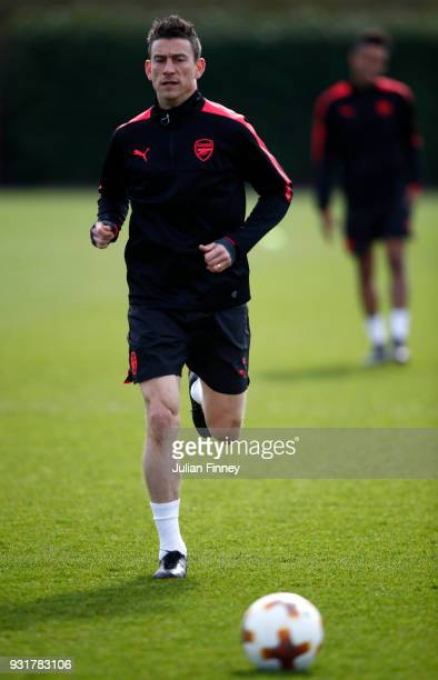 Laurent Koscielny of Arsenal during an Arsenal Training Session ahead of there Europa League 2nd Leg match against AC Milan at London Colney on March...