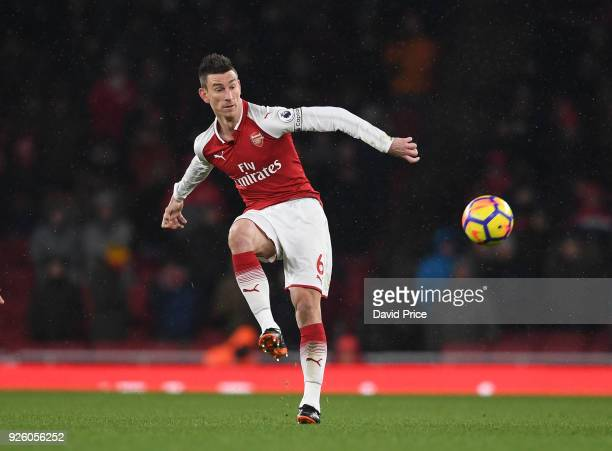 Laurent Koscielny of Arsenal during the Premier League match between Arsenal and Manchester City at Emirates Stadium on March 1 2018 in London England