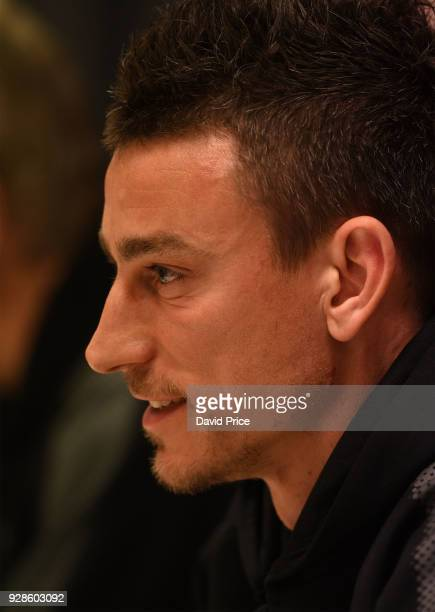 Laurent Koscielny of Arsenal during the Press Conference at San Siro Stadium on March 7 2018 in Milan Italy