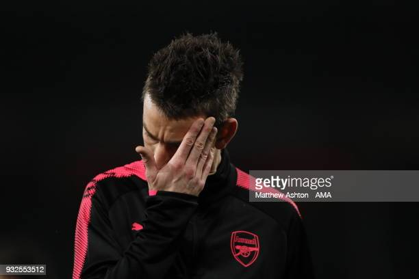Laurent Koscielny of Arsenal during the UEFA Europa League Round of 16 Second Leg match between Arsenal and AC Milan at Emirates Stadium on March 15...