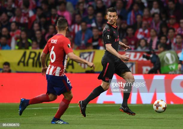 Laurent Koscielny of Arsenal during the UEFA Europa League Semi Final second leg match between Atletico Madrid and Arsenal FC at Estadio Wanda...