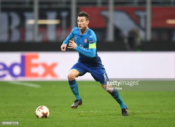 Laurent Koscielny of Arsenal during UEFA Europa League Round of 16 match between AC Milan and Arsenal at the San Siro on March 8 2018 in Milan Italy
