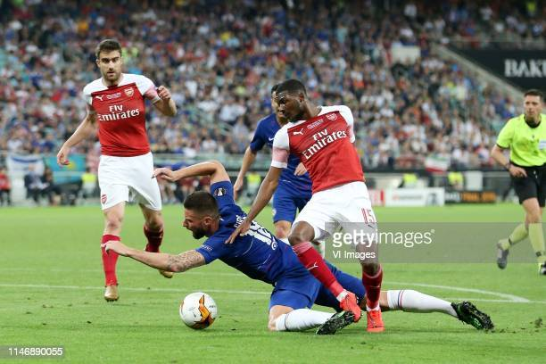 Laurent Koscielny of Arsenal FC, Olivier Giroud of Chelsea FC, Ainsley Maitland-Niles of Arsenal FC during the UEFA Europa League final match between...