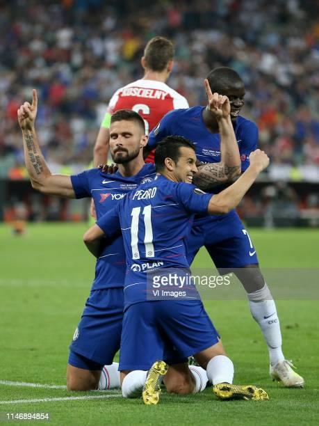 Laurent Koscielny of Arsenal FC, Olivier Giroud of Chelsea FC, N Golo Kante of Chelsea FC, Pedro Rodriguez of Chelsea FC during the UEFA Europa...