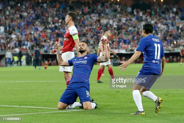 Laurent Koscielny of Arsenal FC, Olivier Giroud of Chelsea FC, Pedro Rodriguez of Chelsea FC during the UEFA Europa League final match between...