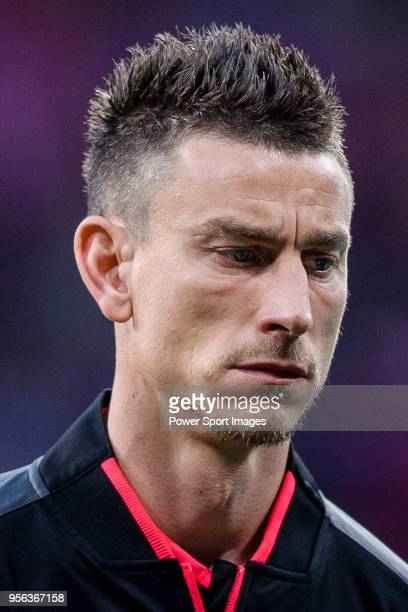 Laurent Koscielny of Arsenal FC reacts prior to the UEFA Europa League 201718 semifinals match between Atletico de Madrid and Arsenal FC at Wanda...