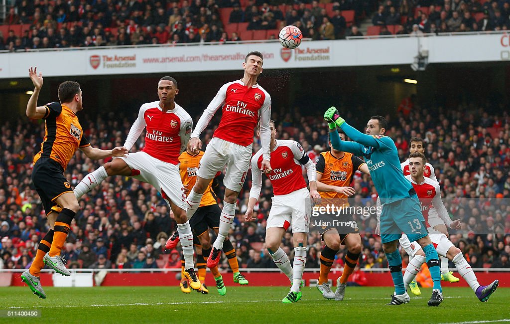 Laurent Koscielny of Arsenal heads the ball during the Emirates FA Cup fifth round match between Arsenal and Hull City at the Emirates Stadium on February 20, 2016 in London, England.