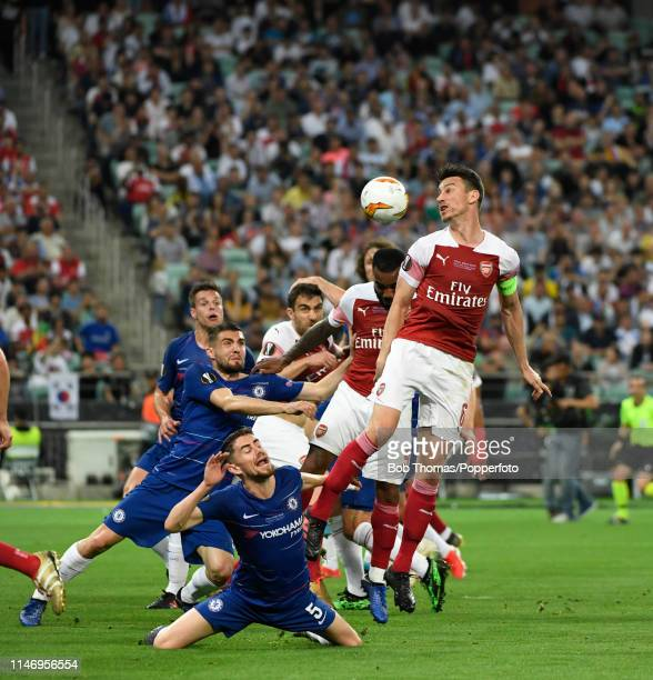 Laurent Koscielny of Arsenal heads the ball during the UEFA Europa League Final between Chelsea and Arsenal at the Baku Olympic Stadium on May 29,...