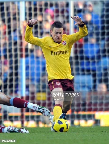 Laurent Koscielny of Arsenal in action during the Barclays Premier League match between Aston Villa and Arsenal at Villa Park on November 27 2010 in...