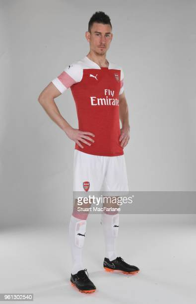 Laurent Koscielny of Arsenal in the new home kit for season 201819 on March 16 2018 in St Albans England