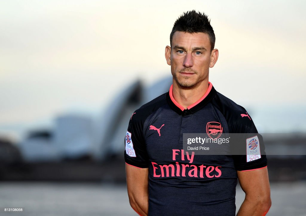 Laurent Koscielny of Arsenal launches the new Puma Arsenal 3rd kit on Fort Dennison on July 12, 2017 in Sydney, Australia.