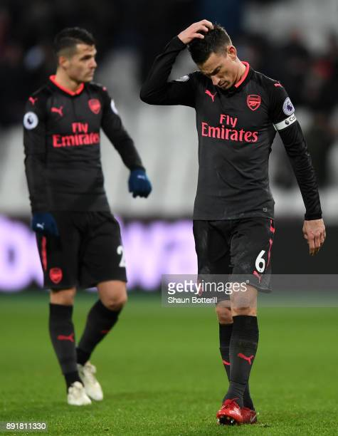 Laurent Koscielny of Arsenal look dejected after the Premier League match between West Ham United and Arsenal at London Stadium on December 13 2017...