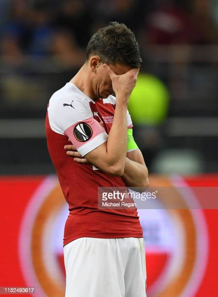 Laurent Koscielny of Arsenal looks dejected following his sides defeat in the UEFA Europa League Final between Chelsea and Arsenal at Baku Olimpiya...