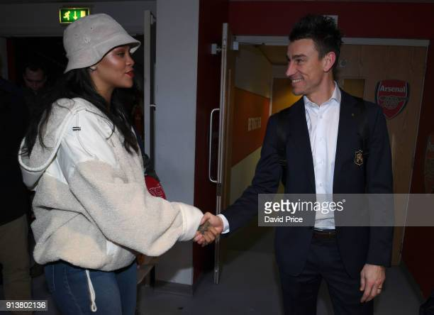 Laurent Koscielny of Arsenal meets pop star Rihanna after the Premier League match between Arsenal and Everton at Emirates Stadium on February 3 2018...